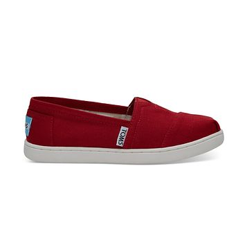 TOMS - Youth Red Canvas Toms Classics 2.0 Slip-Ons