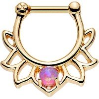 Body Candy Gold Anodized Steel Pink Synthetic Opal Lotus Septum Clicker 16 Gauge 1/4""