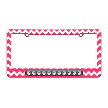 Cute Purple Owls - License Plate Tag Frame - Pink Chevrons Design
