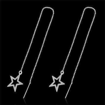 Edgy Bold Star Outline Silver Thread Earrings