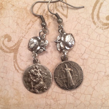 Vintage Rose -Carved Religious Sterling Silver Earrings