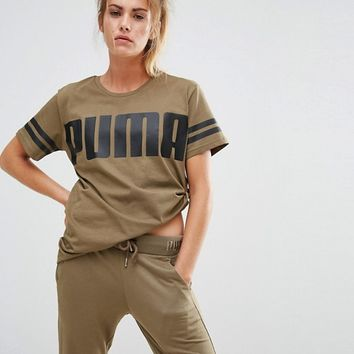 Puma Exclusive To ASOS Logo T-Shirt In Khaki at asos.com