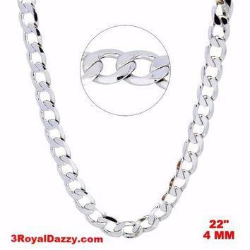 """New Italian 14k White gold Rhodium on 925 Sterling Silver Curb Chain- 4 mm - 22"""""""