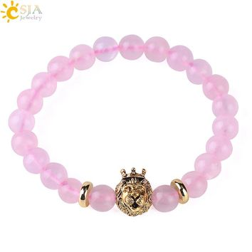 CSJA Natural Stone Rose Crystal Bracelet Pink Quartz Bracelets Women Meditation Yoga Jewelry Gold Color Buddha Lion Monkey F428