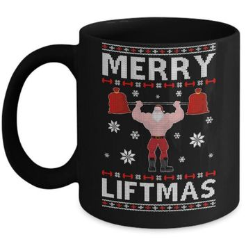 IKCKIJ3 Christmas Merry Liftmas Santa Fitness Gym Ugly Sweater Mug