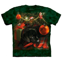 PUPPY REFLECTIONS The Mountain Christmas Tree Black Lab Dog T-Shirt S-3XL NEW