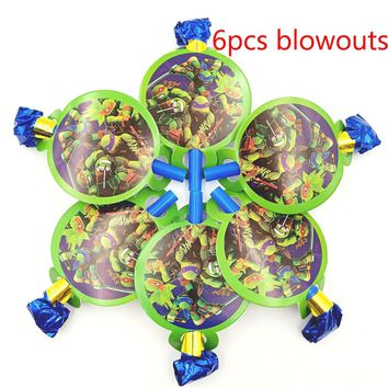 6pcs Ninja Turtles theme birthday party supplies noise makers baby shower party decoration Ninja Turtles blowouts noise makers