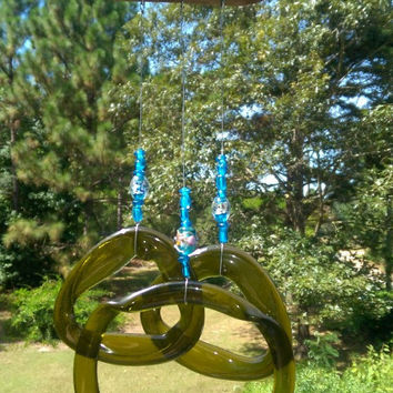 Illume Studio Recycled Wine Bottle Wind Chime with Blue Beads and Texas Driftwood