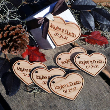 Personalized Hardwood Heart Favor Tags, Custom Engraved Tags