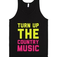 Turn Up the Country Music-Unisex Black Tank