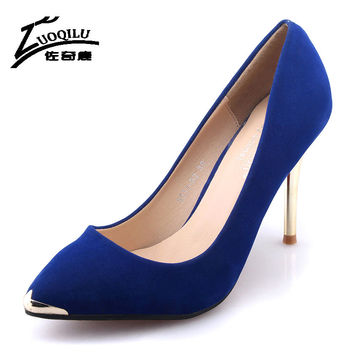 Sexy Women Shoes High Heels Ladies Wedding Shoes Metal High Heel Pumps Shoes Red Pointed Toe Office Pumps Shoes Women large size