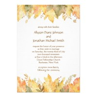Watercolor Autumn Leaves Wedding | Card