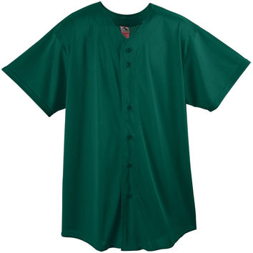 Augusta 439Mesh Button Front Baseball Shirt-Youth - Forest