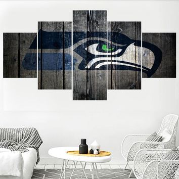 Sport Team Seattle Seahawks Logo Painting Wall Art Home Decor Picture Canvas Painting Calligraphy For Living Room Bedroom