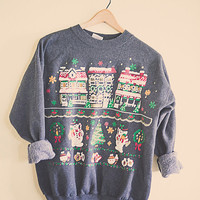 80's Vintage Ugly Christmas Sweater Sweatshirt Grey Holiday Scene Christmas Houses Snowman Trees Gold Glitter