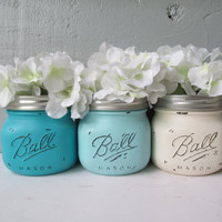 Painted and Distressed Ball Mason Jars- Navy, Light Turquoise and Cream-Ombre Flower Vases, Rustic Wedding, Centerpieces