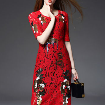 Red Sequined Fruit Floral Lace Midi Dress