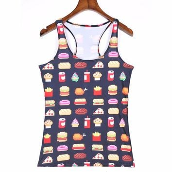 Popular Food Design Sports Tank Tops Women Sexy Sleeveless T Shirt Clothes Elastic Yoga Running Vests Camisole Hamburger S-4XL