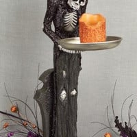 2 Halloween Figures - Skeleton Waiter With Tray