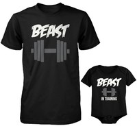 365 In Love Daddy Beast and Baby Beast in Training Matching T-Shirt and Onesuit Set