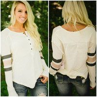 Free People Game Time Henley (Ivory Combo) - Piace Boutique
