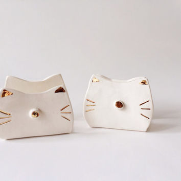 Cat Sponge Holder - Kitchen Decor - Ceramic Sponge Holder