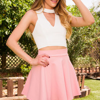 She Says Skater Skirt - Blush