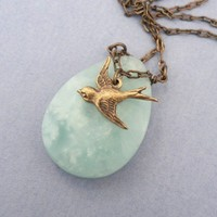 Elwing  -  brass bird charm necklace with amazonite