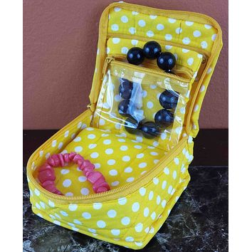 Handmade Quilted 100% Cotton Cosmetic Organizer Jewelry Bag Travel Pouch Polka Dot Yellow