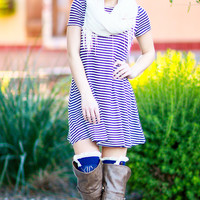 CAMPUS CHIC STRIPED TEE SHIRT DRESS IN NAVY