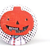 Pumpkin Boo Sleepy Hallow Round Magnet - Jack O Lantern Refrigerator Magnet or Pumpkin Pin Back Button or Pocket Mirror