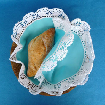 Double Cloth with Crochet Doily for Bread Serving Basket in Blue and White - Handmade