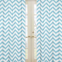 Chevron Turquoise and White Window Panel Curtains