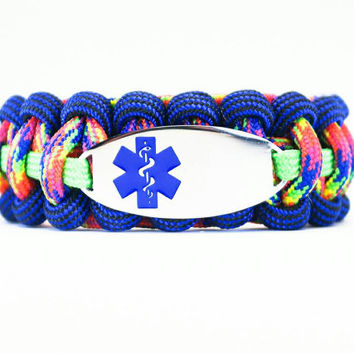 Custom 550 Paracord Bracelet Medical ID - Personalized Engraved Blue Stainless Steel Medical ID Bracelet Includes FREE Engraving