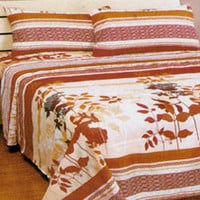 Autumn Fall Leaves Flowers Stripes Bed Sheets Set: Full
