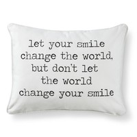 Smile Script Decorative Throw Pillow - Wht/Blk