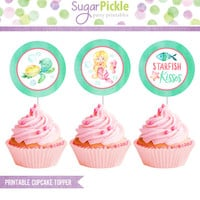 Mermaid Cupcake Toppers, Mermaid birthday circles, Mermaid Party Decorations, Mermaid Birthday Party - 2.25 inch