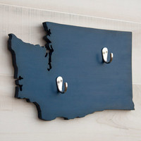 Washington or any US state shape wood cutout sign home organizer wall art with key hooks. College Dorm Office Country Decor. 24 colors