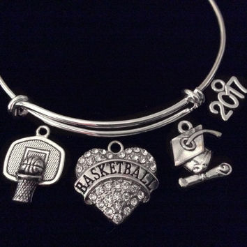 Graduation 2017 Crystal Heart Basketball Hoop Expandable Charm Bracelet Sports Gift Silver Adjustable Bangle