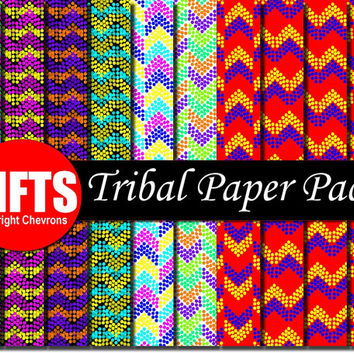 Red Blue Purple Old Tribal Digital Paper Sheets scrapbook Native Nautical Tribe backgrounds Craft geometric Supplies chevrons collage sheet