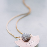 Horizon Necklace | Hand-Sawed Copper w/ Fire Agate Sphere | Lavender Lilac Purple Stone