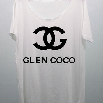 GLEN COCO White T Shirts handmade silk screen printing Size M and L