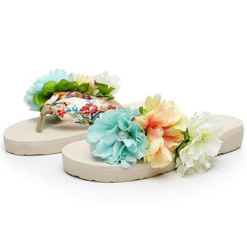 2017 Bohemia Flowers Ladies Flip Flops Beach Slippers Platform Women Sandals Slip On S
