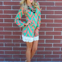 Unquestionable Hotness Chevron Dress PINK/GREEN *CLEARANCE* - Modern Vintage Boutique