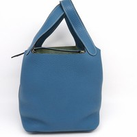 Auth Hermes Picotin PM Handbag Bag Clemence Leather Turquoise/Blue 8514