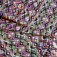"Art Deco Chevron Print ITY Knit Fabric, Polyester Lycra Blend, Multicolor 60"" Wide per Half Yard"