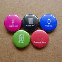 "The Breakfast Club button set - 5 x 1"" Pinback Buttons - teen movie cult comedy John Hughes pin badge"