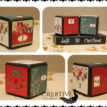 Christmas Count Down Wood Blocks Set
