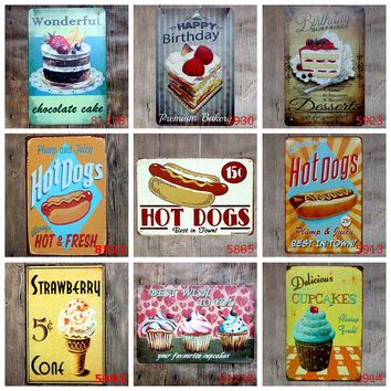 Retro Hot Dog Metal Tin Signs Cake Hamburger Bakery Food Vintage Poster Home Decor Wall Art Painting Plaque YQZ001