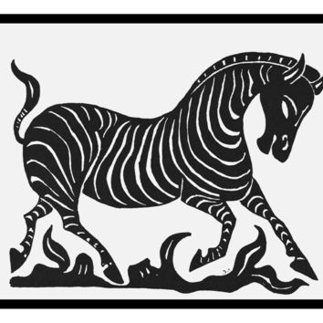 Russian Folk Art Animal Zebra by Issachar Ber Ryback's Counted Cross Stitch or Counted Needlepoint Pattern
